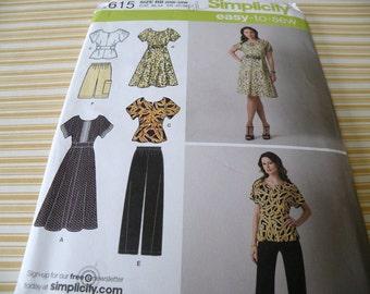 Plus Size Simplicity 2615 20W-28W Easy to Sew Wardrobe pattern UNCUT