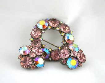 Vintage Weiss Round pink Rhinestone Brooch and Earrings
