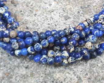 "1-16"" Strand Blue Impression Jasper 6mm Smooth Rounds (65 Beads)"