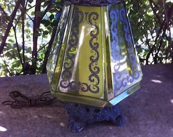 Vintage Danish mid Century modern REtro Eames ERa Green Glass Table Lamps