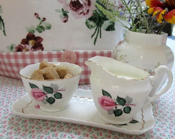 Creamer, Sugar and Tray Set, Adderley, Pink Roses