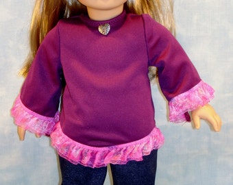 Burgundy Top Sparkle Denim Jeans Outfit made to fit 18 inch dolls