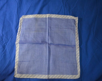 Vintage Blue Hankie With an Edge of Blue and White