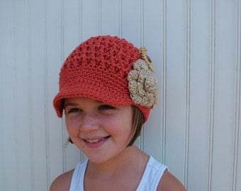 Crochet Girls Newsboy Hat with Flowers in Autumn Colors