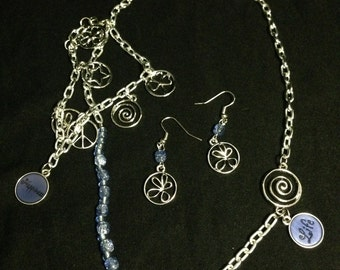 Charm Jewelry Set - Necklace, Earring, and Bracelet with Blue Accents