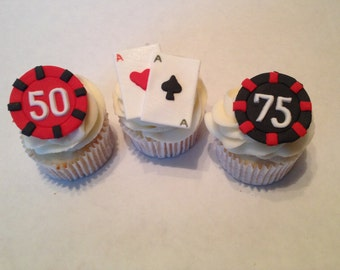 Casino Inspired Fondant Cupcake Toppers