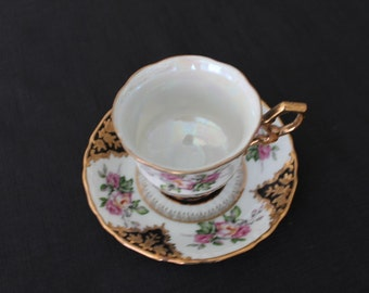 Vintage White Black Gold Floral Tea Cup & Saucer Shafford Japan