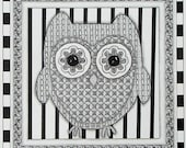 Black and White Owl Blank Note Card