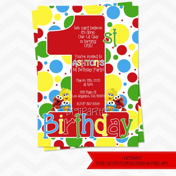 Baby Sesame Street Invitation by dpdesigns2012 on Etsy