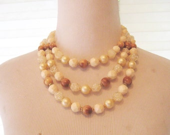 50s Triple strand large bead necklace, multi strand, choker style, cream beige tan, costume jewelry