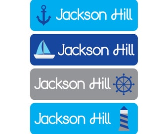 60 Baby bottle labels -  Waterproof and Dishwasher Safe - 4 Designs - Nautical - Mini