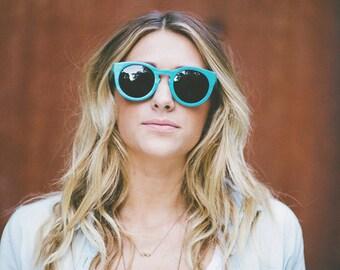Teal Maple Wood Sunglasses, 7-Ply Wooden Eyewear, Recycled Skateboard Wood Sunglasses - LKTSK1