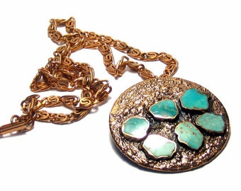 Vintage Turquoise Copper Pendant Necklace Bohemian Jewelry