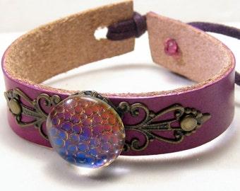 Bubbles - Purple Leather Cuff Bracelet