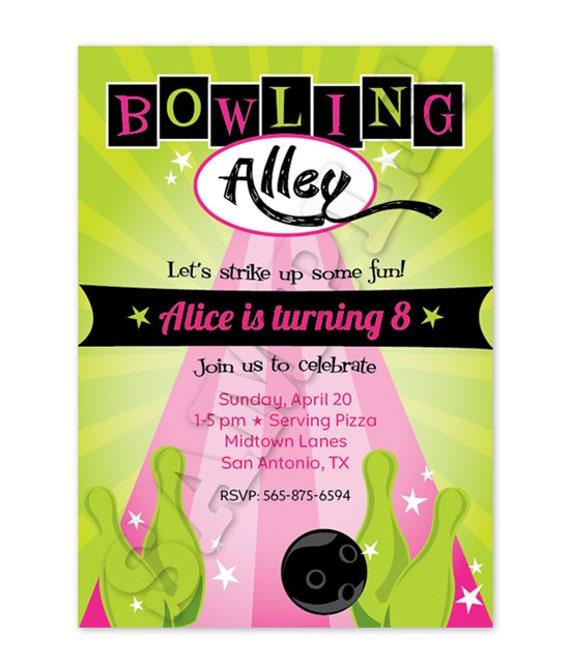 Neon Bowling Birthday Invitation