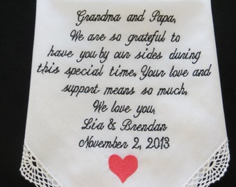 personalized wedding handkerchief for the Grandmother. FREE Gift BOX.