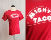 Retro Red Cotton Mighty Taco 1980s TShirt Small XSmall Women