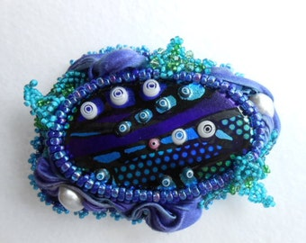 Current Fashion, OOAK Bead Embroidered and Fiber Brooch