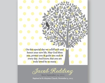 Baptism Gift Boys, Gift for God Child, Personalized Bible Verse Art Print, Christening Gift // Soft Yellow and Grey, 5x7 OR 8x10 Art Print
