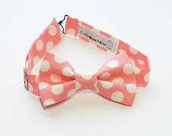 Bow Tie - Salmon and White Polka Dot Bowtie