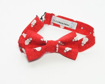 Bow Tie - Red with Snowman Bowtie