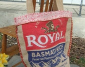Red and Tan Burlap Rice Bag tote - recycled rice bag
