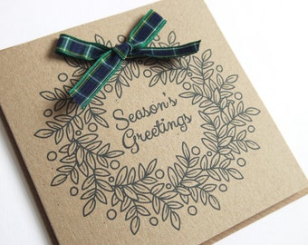 Holly Wreath Eco Recycled Kraft Christmas Cards 5 Pack