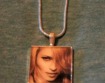 "Madonna 24"" silver charm necklace"