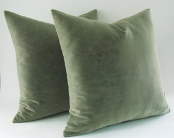 2 pcs Velvet Cotton Moldy Green Pillow Cover, Decorative Pillow, Throw Mold Green Pillow, All Size