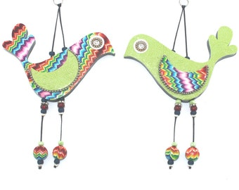 Bird couple in green and rainbow colors, wedding gift, elegant wall decor love birds, colorful love birds, Polymer clay birds, romantic pai