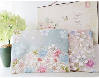 Japanese sakura cherry blossom Small zip pouch purse cosmetic pouch make up pouch travel organizer coin purse