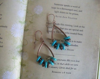 Copper, copper wire, copper tube, turquoise, copper spacers, copper dangle earrings