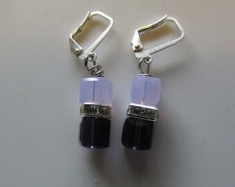 Purple Swarovski Cube Earrings, Bridal Earrings,Bridal Earrings, February Birthstone Earrings