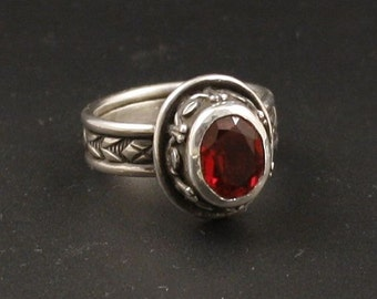 Red Ruby Artisan Sterling Silver   Jewelry Handmade  Metalwork Ring