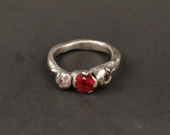Rustic Organic Womans Engagement Ring Ruby  Sterling Silver   Jewelry Handmade  Metalwork Ring