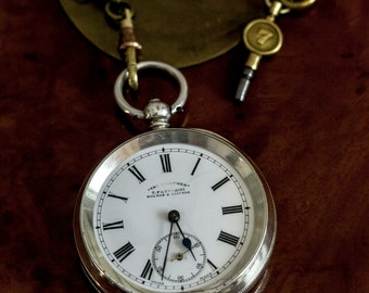 """Silver Pocket Watch by T. Fattorini """"The Clincher"""" 1880's cylinder escapement."""