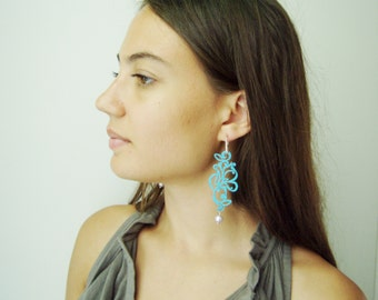 Blue chandelier earrings of leather and sterling, turquoise leather, boho paisley design, perforated earrings with faux pearl,