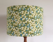 liberty fabric handmade drum lampshade Green with flowers blossom uk