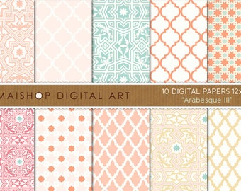 Digital Paper - Arabesque III - Coral, Pink Pale, Scandal Green, Apricot... Sweet Moroccan Printable Papers for Scrapbook, Cards, Invites...