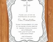 Gray Plaid Cross Invitation | First Communion || Printable Editable Digital PDF File | Instant Download | FCI116DIY