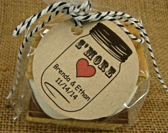 Customized Wedding S'more Favor Packaging - 24 Cellophane Bags and Personalized Kraft Tags With Your Choice of  Baker's Twine