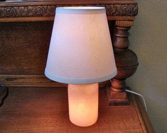 Mason Jar Lamp With Shade -Hand Made -  Milky Pink Mason Jar