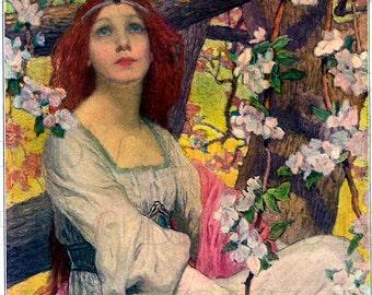 Stunning Red Headed ART NOUVEAU Woman Among Blossoms. Art Nouveau Digital Vintage Illustration. Art Nouveau DIGITAL Download.