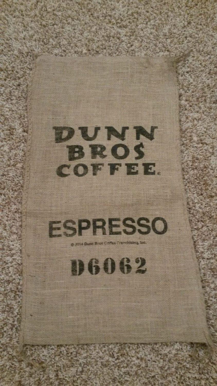 Burlap coffee bag dunn bros espresso gunny sack coffee for Burlap sack decor