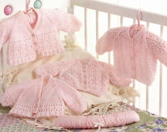 4 Ply Knitting Patterns Free Download : baby knitting pattern forbaby girls 2 styles cardigan prem 10 in chest to 18 ...