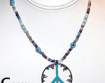 Hippie Love Bead Necklace with FLOWER POWER PEACE Sign with Amazonite Gemstone Beads
