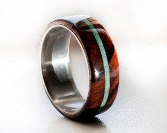 Mens Wedding Band Wood and Turquoise Ring