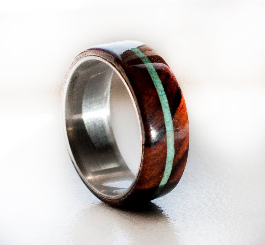 wood mens wedding band ring turquoise and wood by