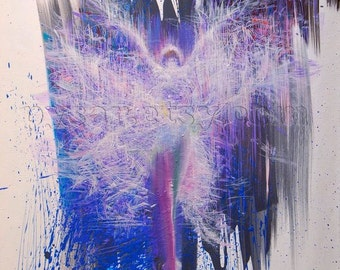 Dancer art print, purple canvas art, abstract giclee print, blue abstract art gift for dancer, abstract poster canvas print