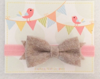Ready To Ship - Heather/Pink Bow Headband